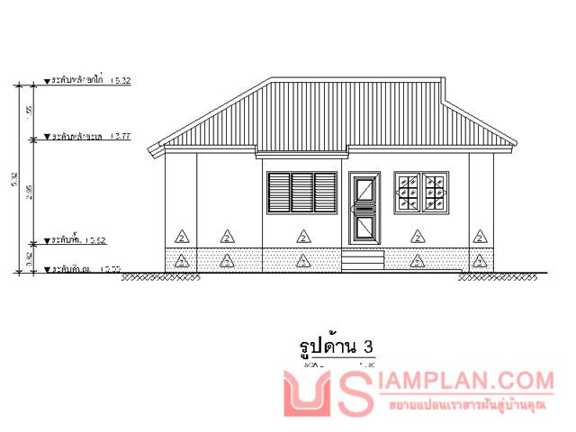 แบบบ้านอยู่รับตะวัน (รหัส FP001) บ้านชั้นเดียว 1 ห้องนอน, 1 ห้องน้ำ พื้นที่ใช้ซอย 45 ตารางเมตร © siamplan.com