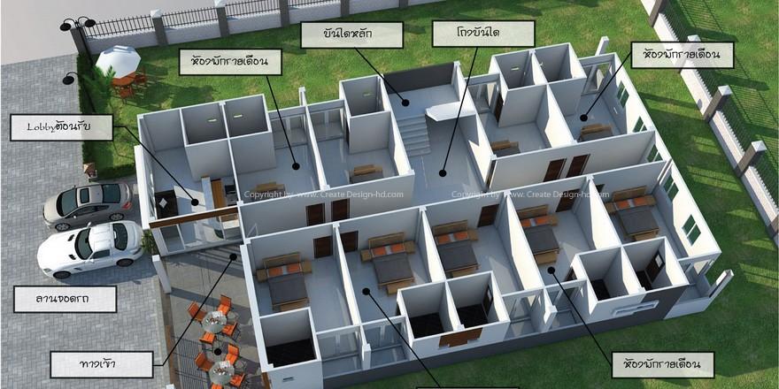 แบบ  Apartment  สไตล์  Modern  สามชั้น Create Design house and decorate