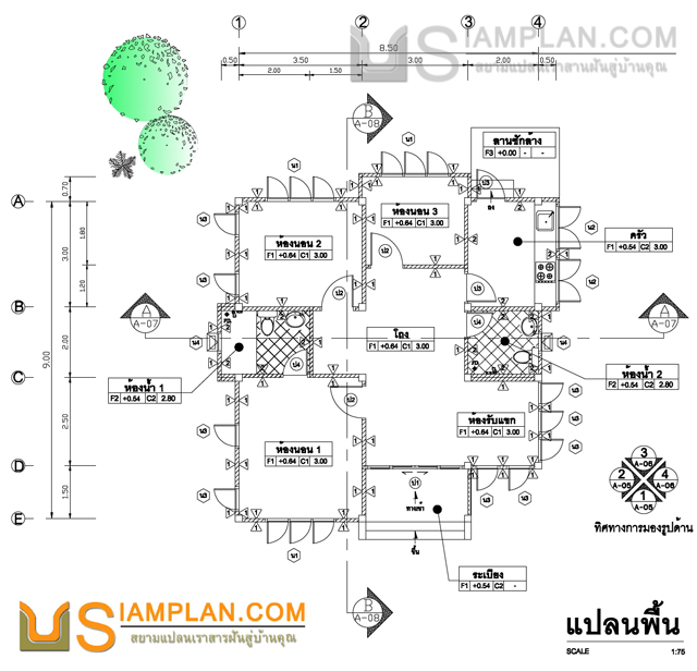 © siamplan.com แบบบ้านอยู่แบบมั่นคง (รหัส FP009) บ้านชั้นเดียว 3 ห้องนอน, 2 ห้องน้ำ พื้นที่ใช้ซอย 77 ตารางเมตร